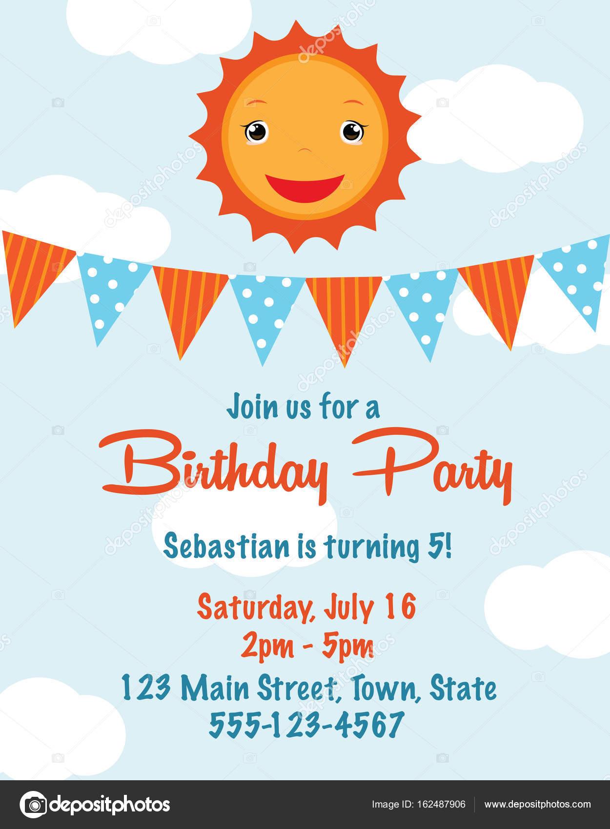 Cute cartoon sun birthday invitation card stock vector cute cartoon sun birthday invitation card stock vector stopboris Choice Image