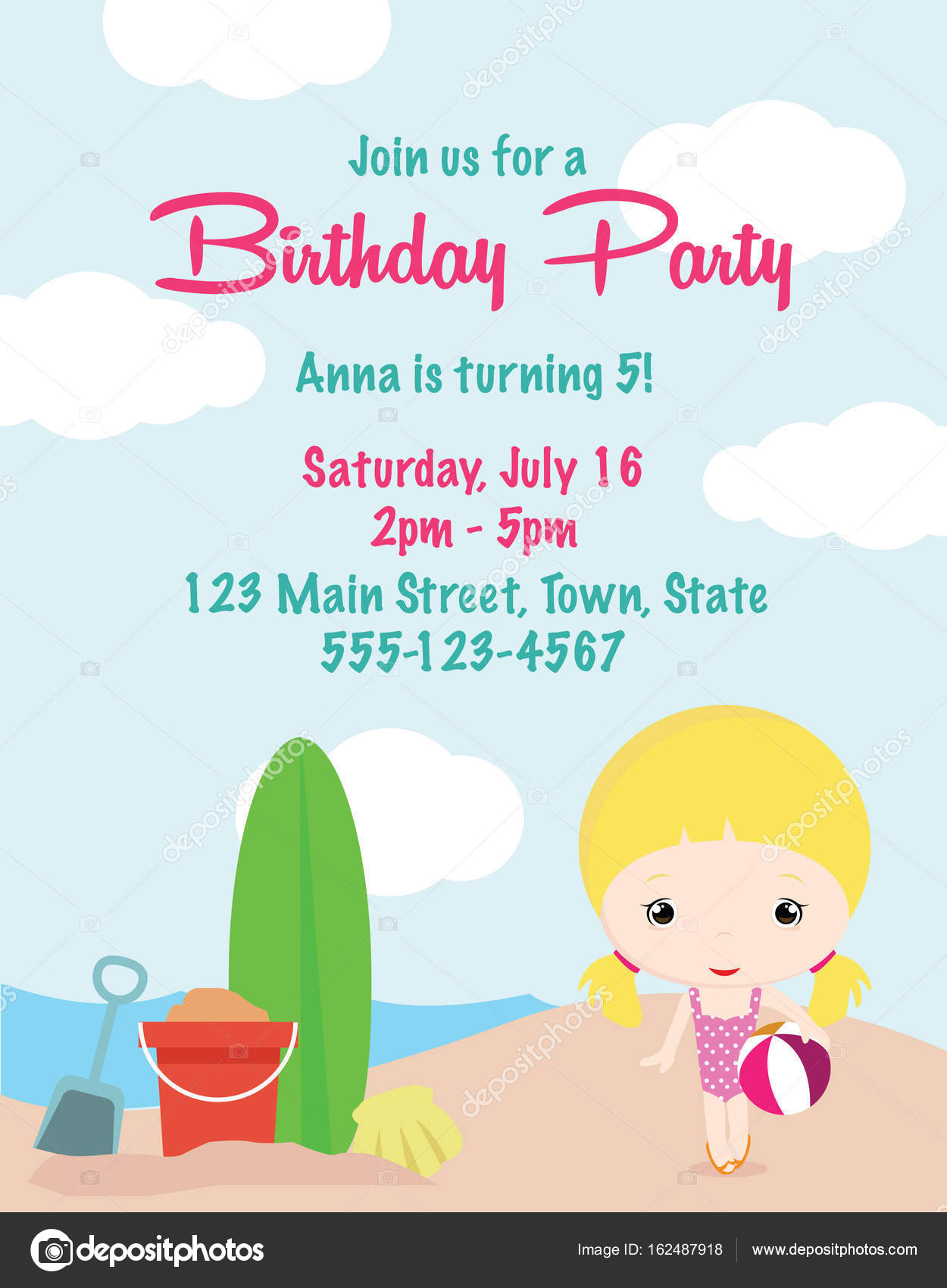 Cute cartoon girl birthday invitation card stock vector cute cartoon girl birthday invitation card stock vector filmwisefo