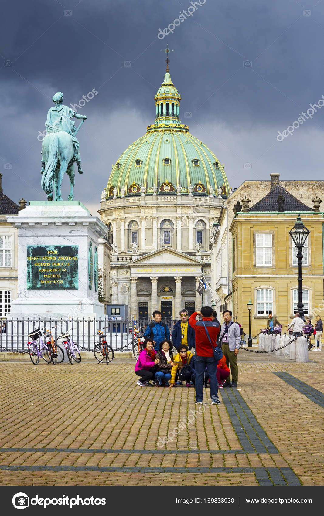Statue Of Frederik V And Frederiks Church Stock Editorial Photo