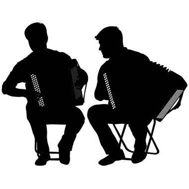 Silhouette of two musicians bayan on white background, vector illustration
