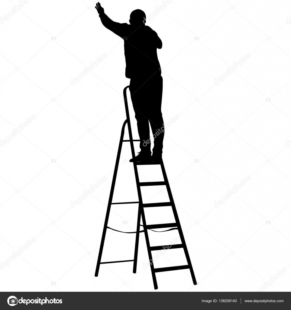 Silhouette worker climbing the ladder. Vector illustration — Stock ... for Worker Climbing Ladder  76uhy
