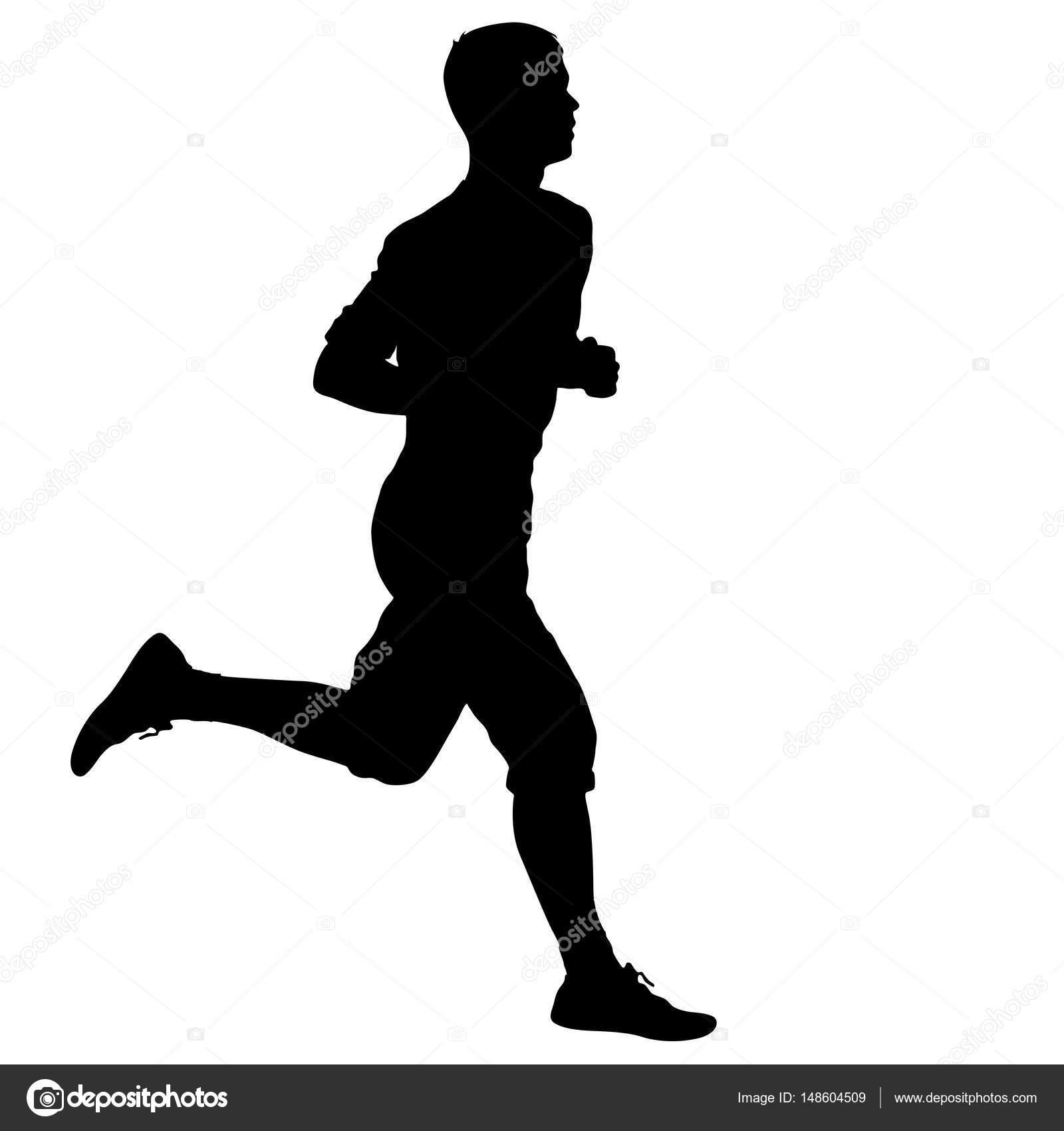 negro siluetas corredores sprint hombres sobre fondo
