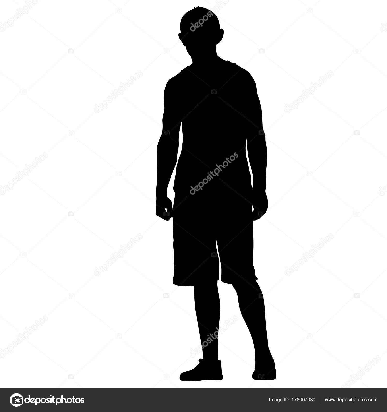 Schwarze Silhouette Mann stehend, Menschen auf weißem ...
