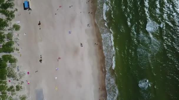 Palanga Lietuva Baltic Sea Seaside Aerial drone top view 4K UHD video Lithuania