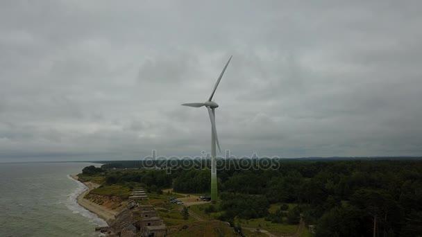 wind generator North Forts Liepaja Latvia Baltic Sea Seaside Aerial drone top view 4K UHD video