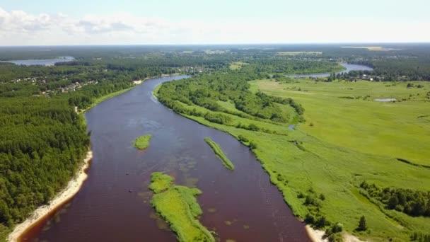 Gauja river Latvia drain into Baltic Sea aerial drone top view 4K UHD video