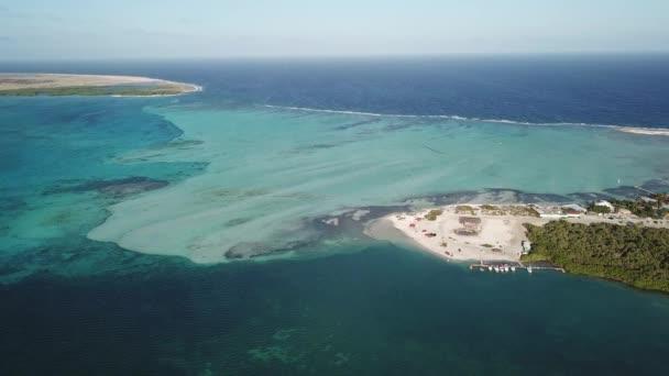 Bonaire island Caribbean sea windsurf lagoon Sorobon aerial drone top view 4K UHD video