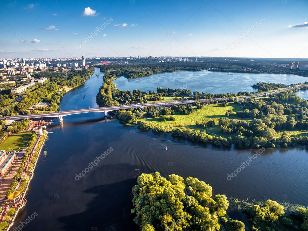 Aerial view of Moscow with Moskva River