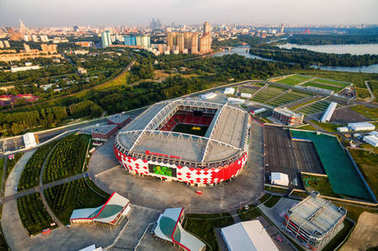 Aerial view of Otkritie Arena stadium in Moscow