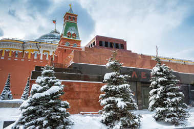 Lenin's Mausoleum on the Red Square in winter, Moscow