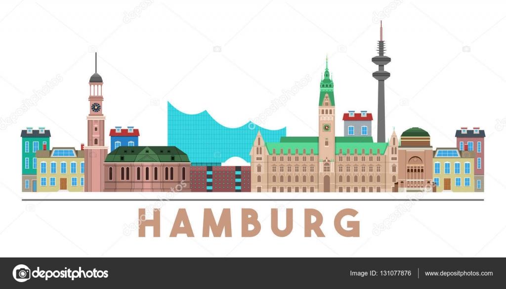 Hamburger Wahrzeichen Skyline Stockvektor C Idollisimo 131077876
