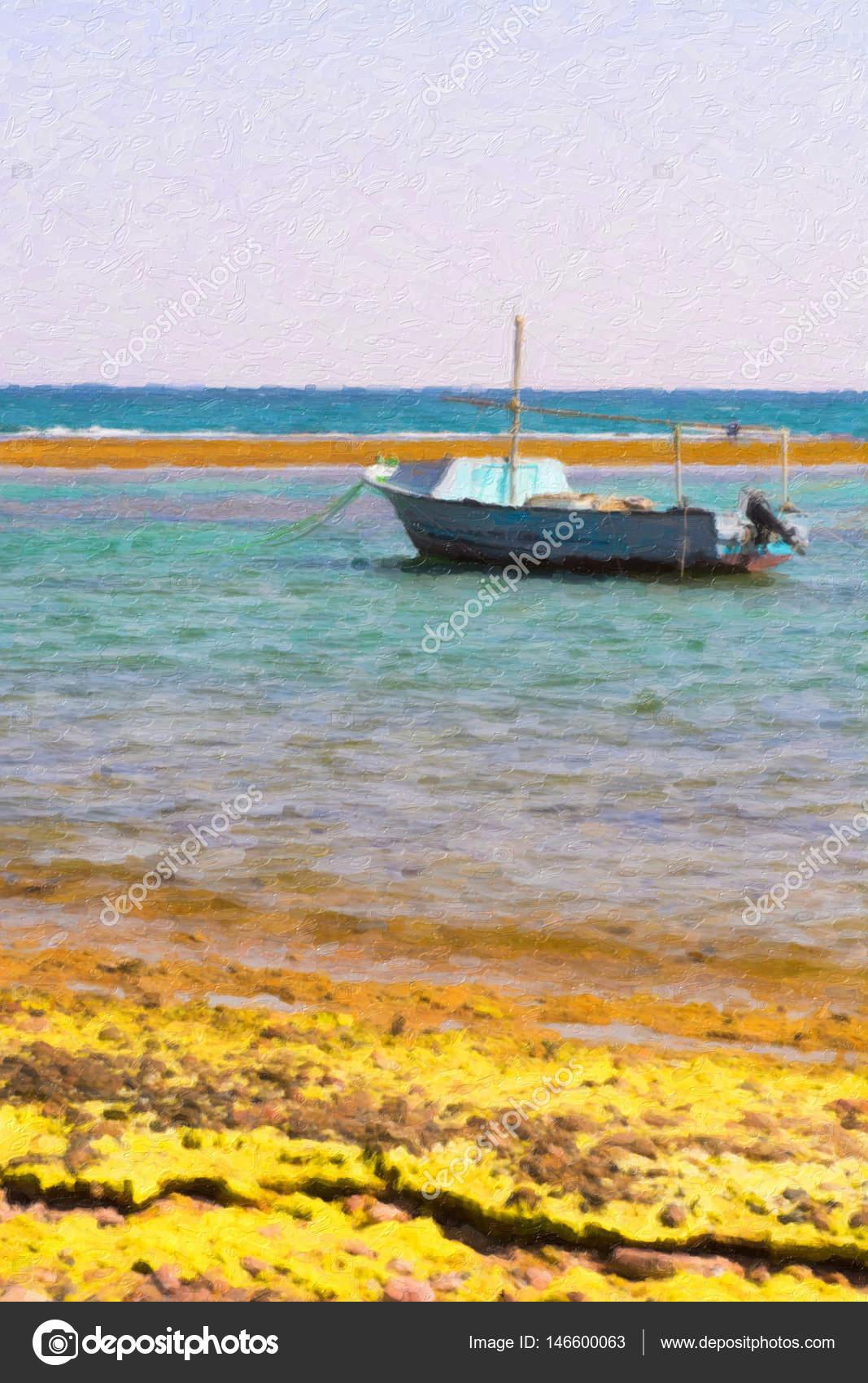 Seelandschaft mit Boot Farbe stilisierte — Stockfoto © kozak-salo ...