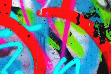 close up of colorful urban wall texture