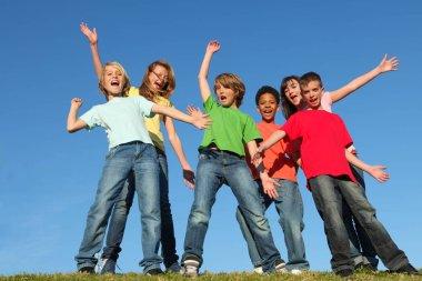 Diversity kids group hands raised