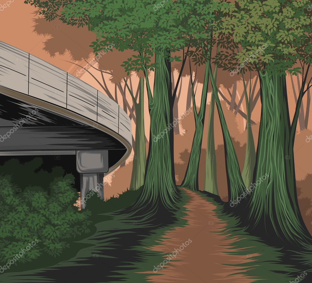 Фотообои Elevated road and forest side