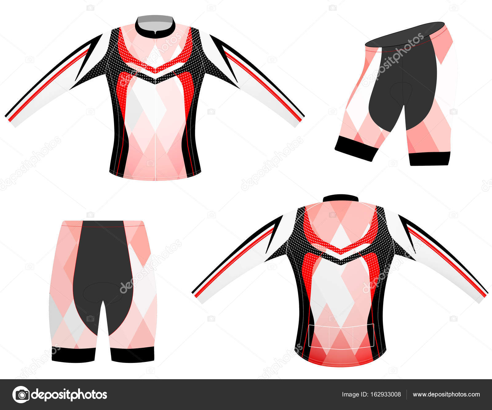 da564bcd67f0 Red and black sports t-shirt vector design long sleeve cycling vest on a white  background — Vector by ...