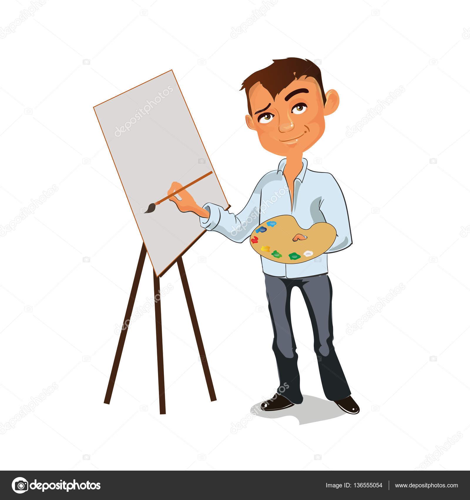 Sanatçı Erkek Resim Resim Renk Paleti Ile Vektör çizim Stok