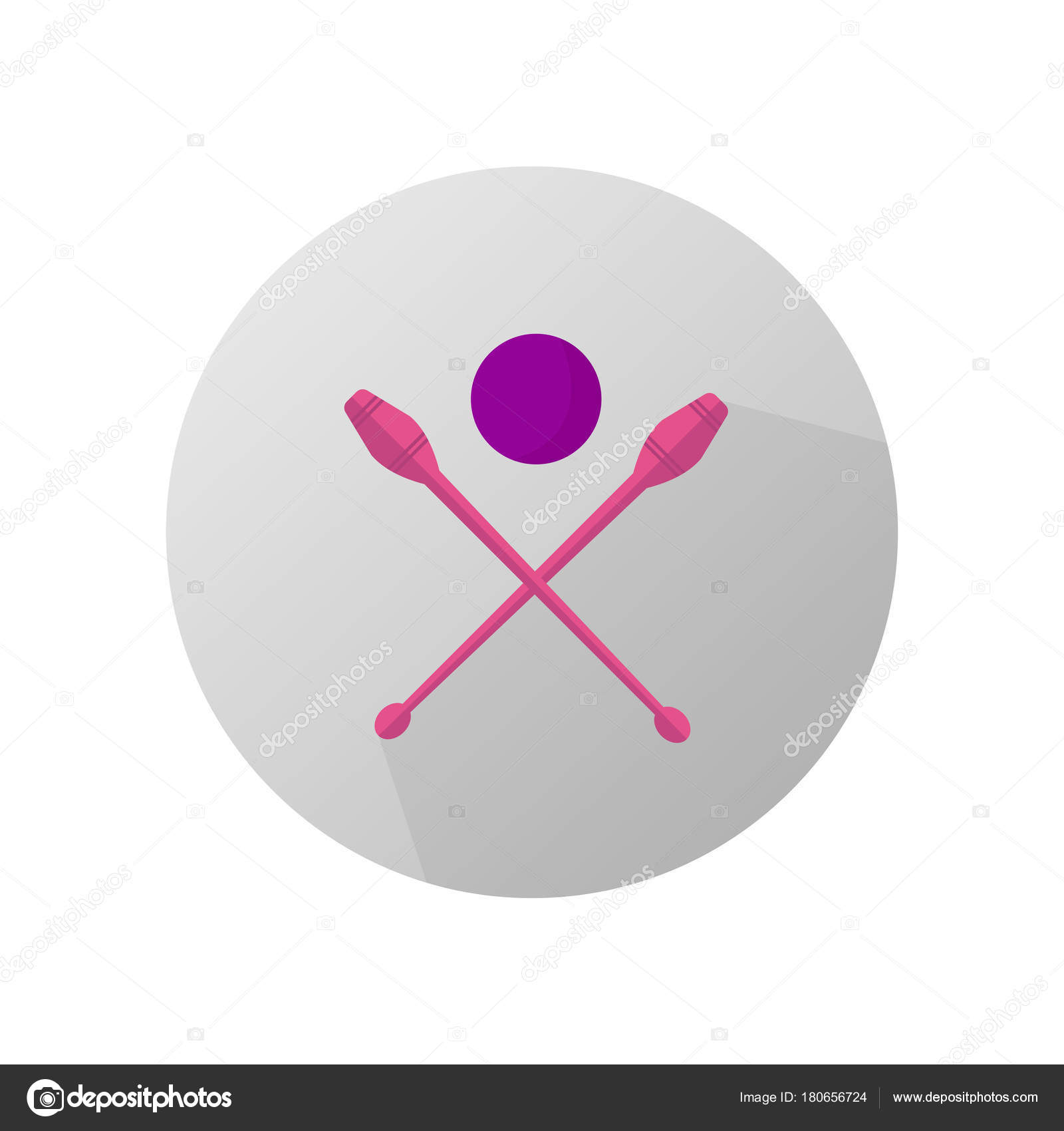 Rhythmic Gymnastics On Gray Background Vector Icon Stock Vector