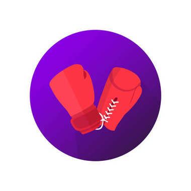 Boxing on violet background vector icon. Red gloves symbol.