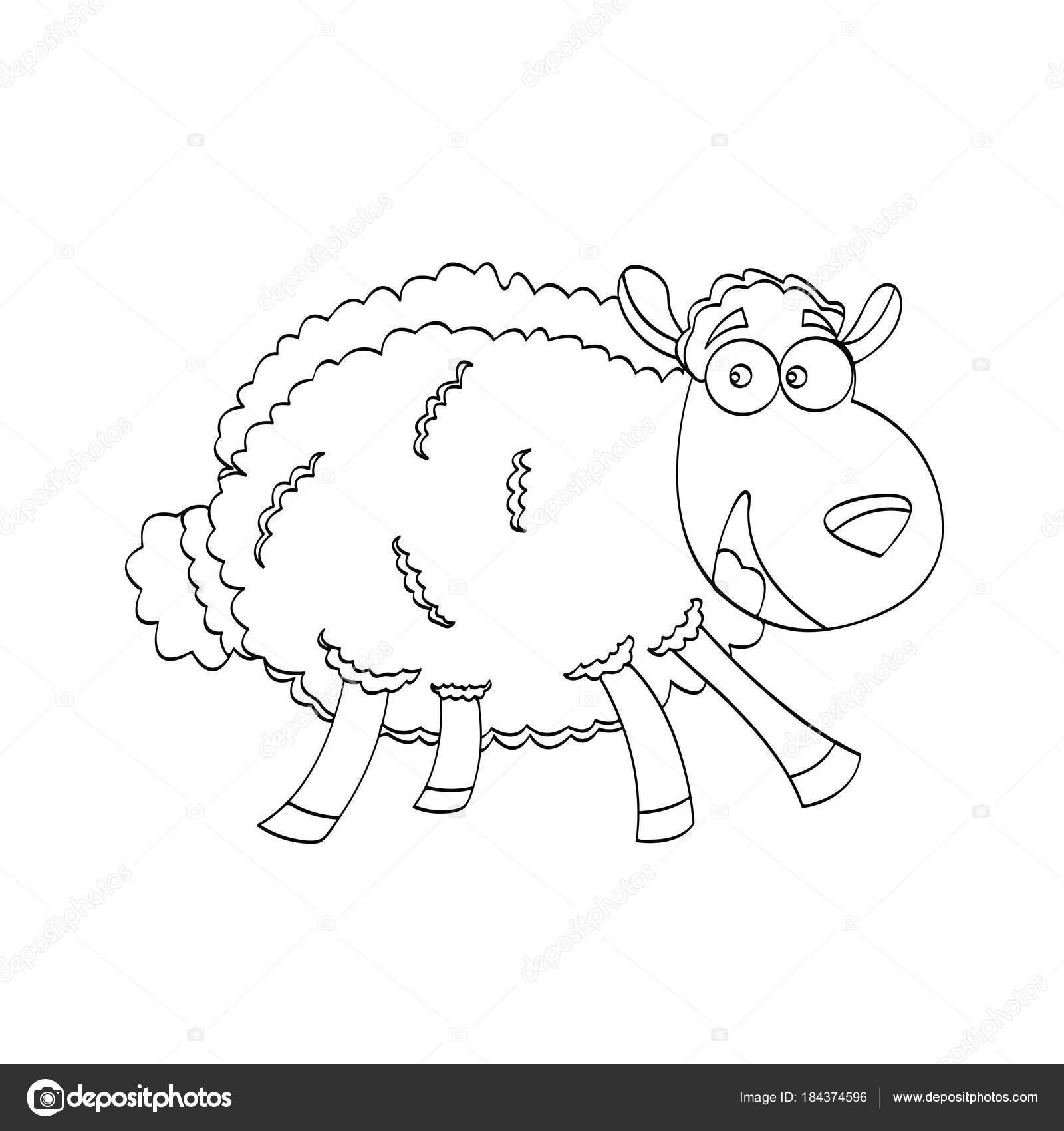 Koyun Karikatür Hayvan Vektör çizim çizim çocuklar Için Eğitim