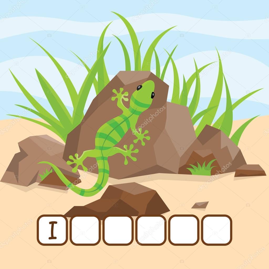 Funny crossword game with cute cartoon of deserted iguana on the rocks. Vector Illustration. Cute preschool education worksheet.