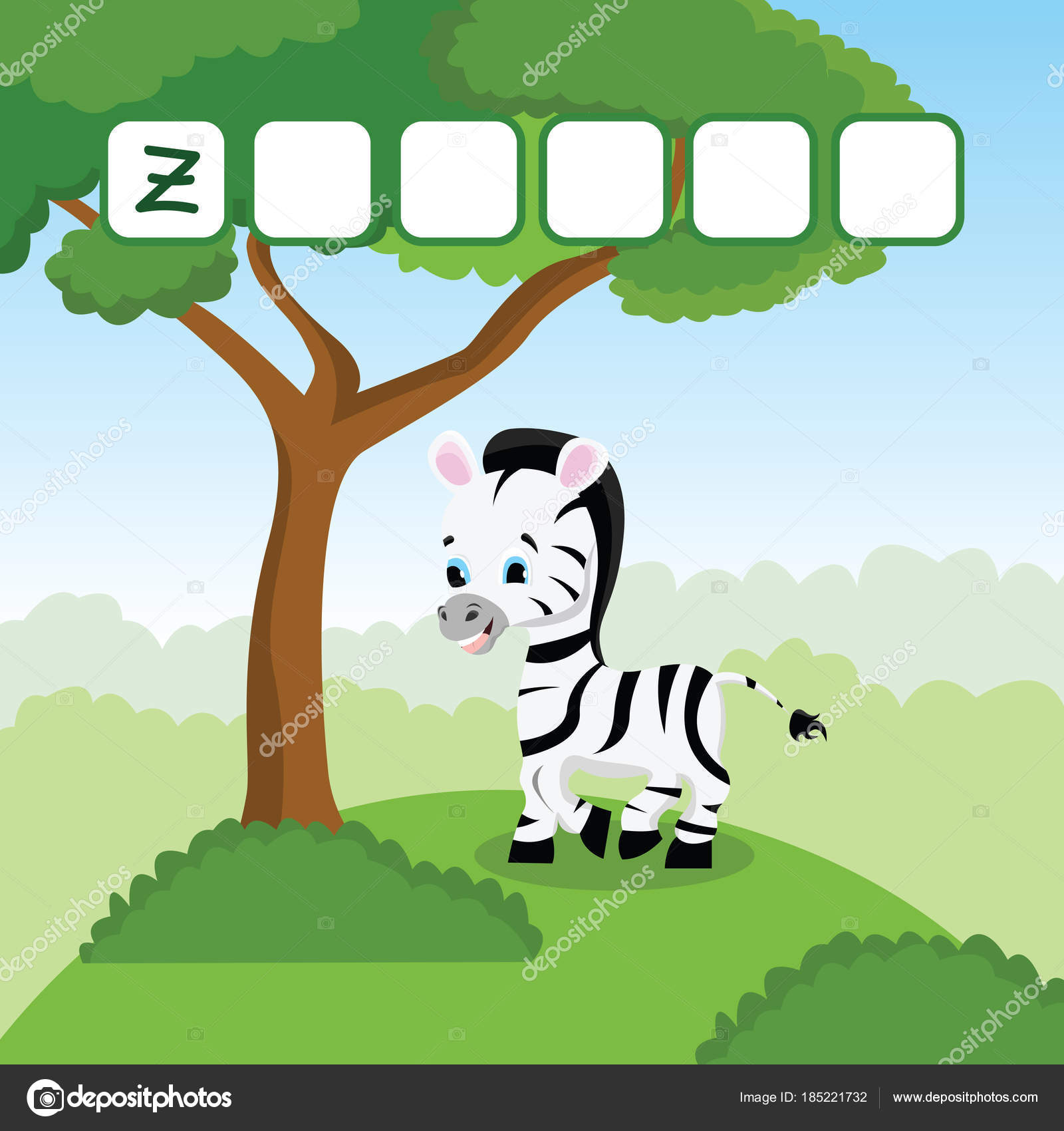 funny crossword game with cute cartoon of amazing zebra on a green