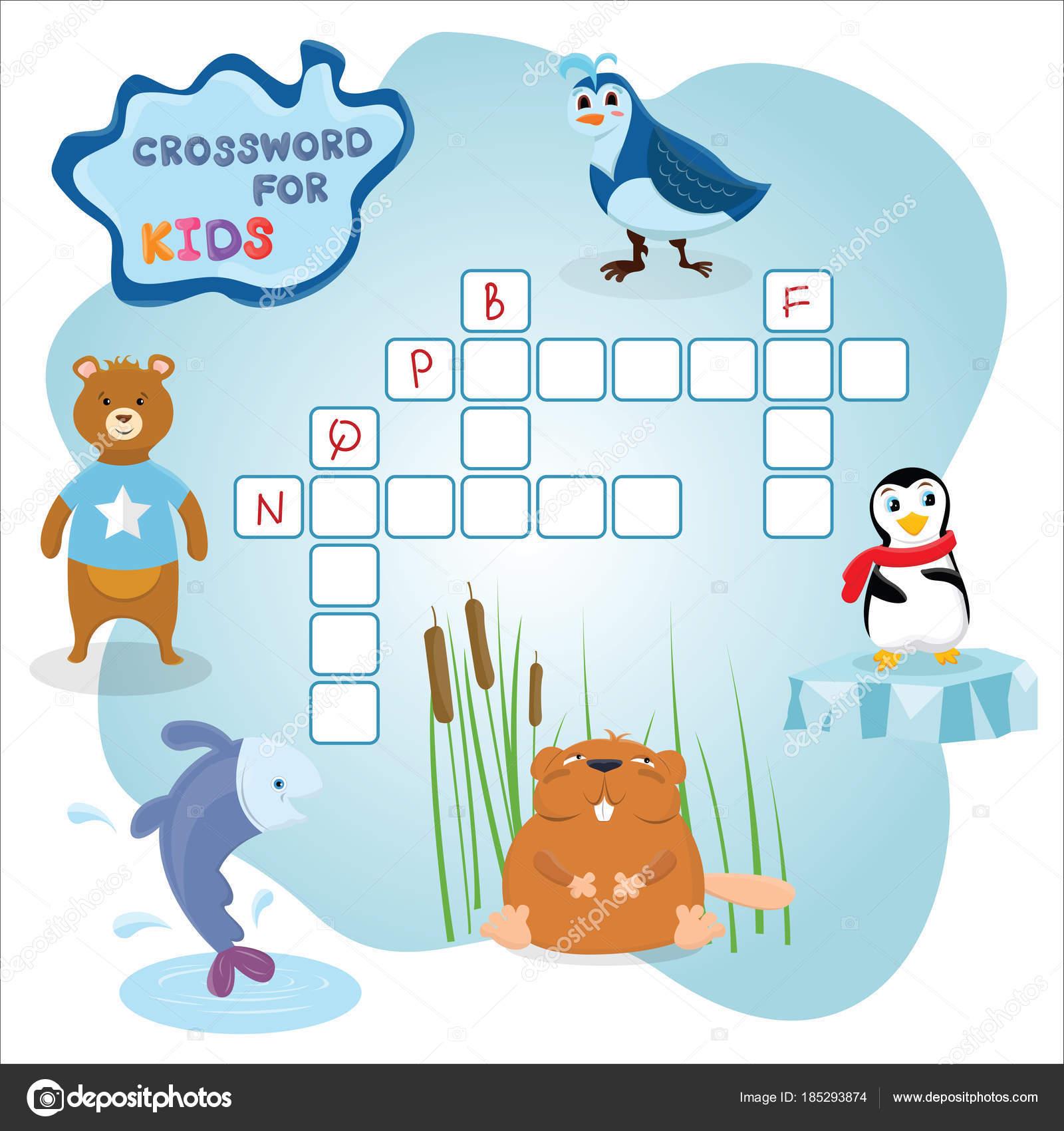 Lustige Kreuzworträtsel Spiel mit niedlichen Cartoon Fisch, Bär ...