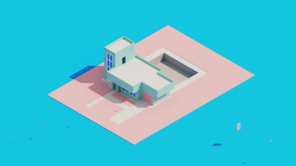3D-Animation des Baus eines modernen Hauses mit Schwimmbad auf blauem Grund. Draufsicht auf isometrische Vintage-Gebäude.