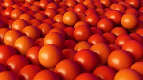 abstrakte orange Kugeln, die sich sanft nach oben und unten bewegen. 3D-Schleifenanimation.