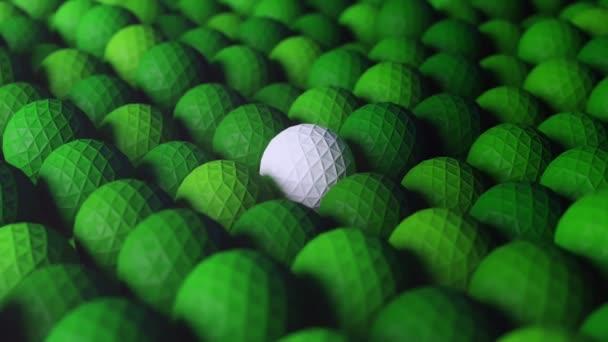 abstrakte weiße und grüne Low-Poly-Bälle, die sich sanft nach oben und unten bewegen. 3D-Schleifenanimation.