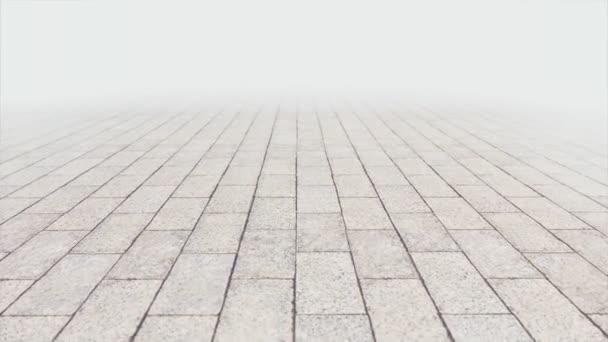 Pomalá chůze po vnější dlažbě s efektem bokeh a zblízka. 3D bezešvé smyčkové animace dlaždic.