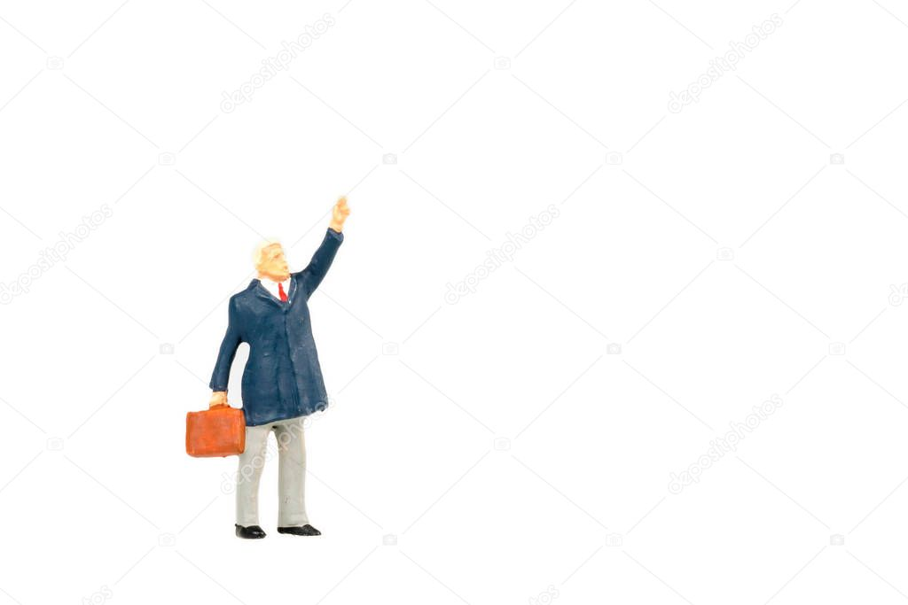 Miniature people business traveler on background with space for