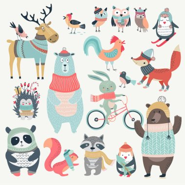 Christmas set with cute animals, hand drawn style.