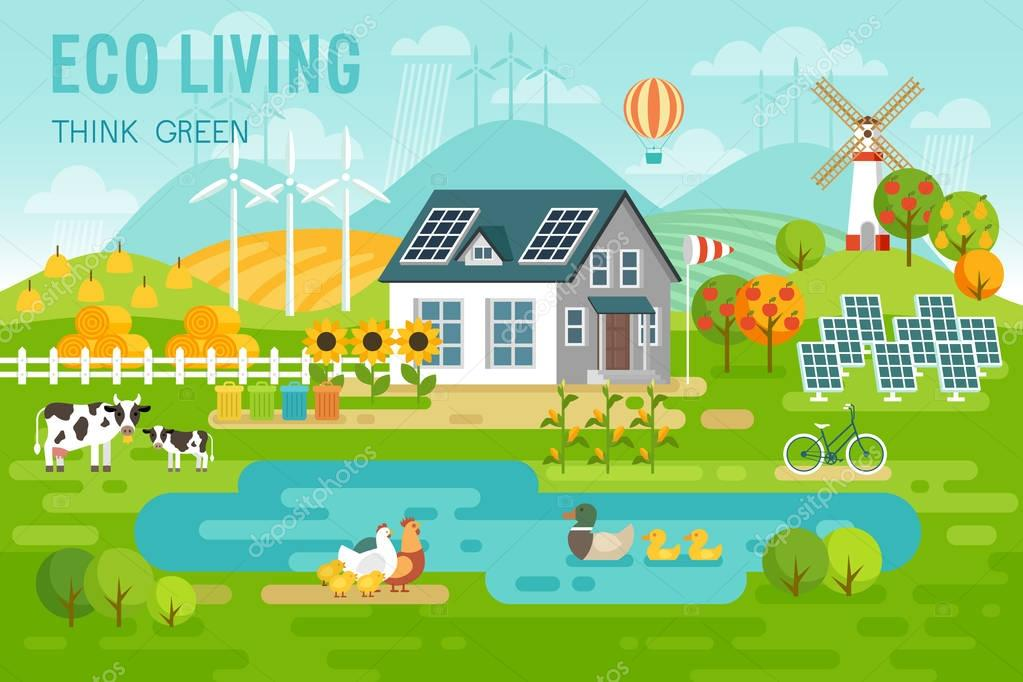 Eco living landscape with eco house and farm animals.