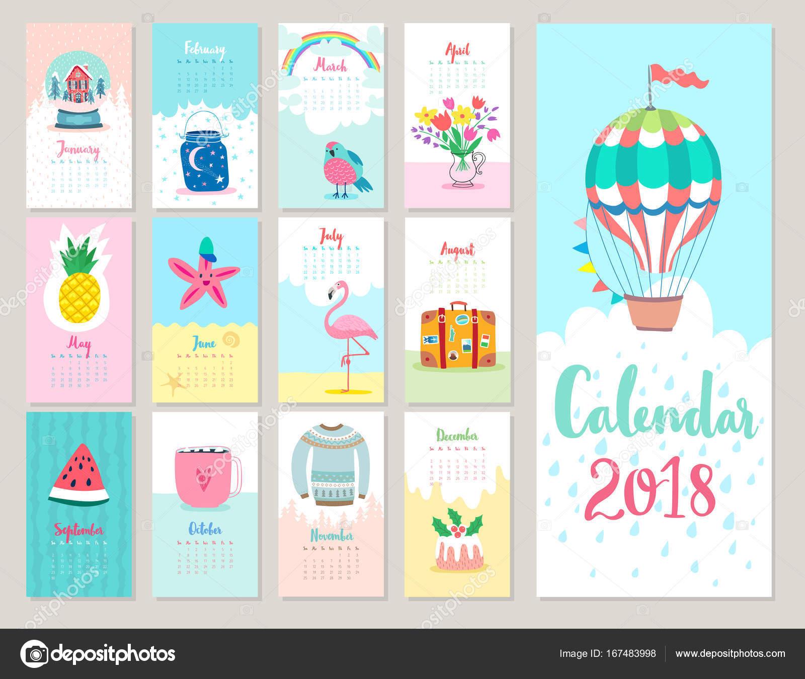 Weihnachts-Kalender 2018 — Stockvektor © aviany #167483998