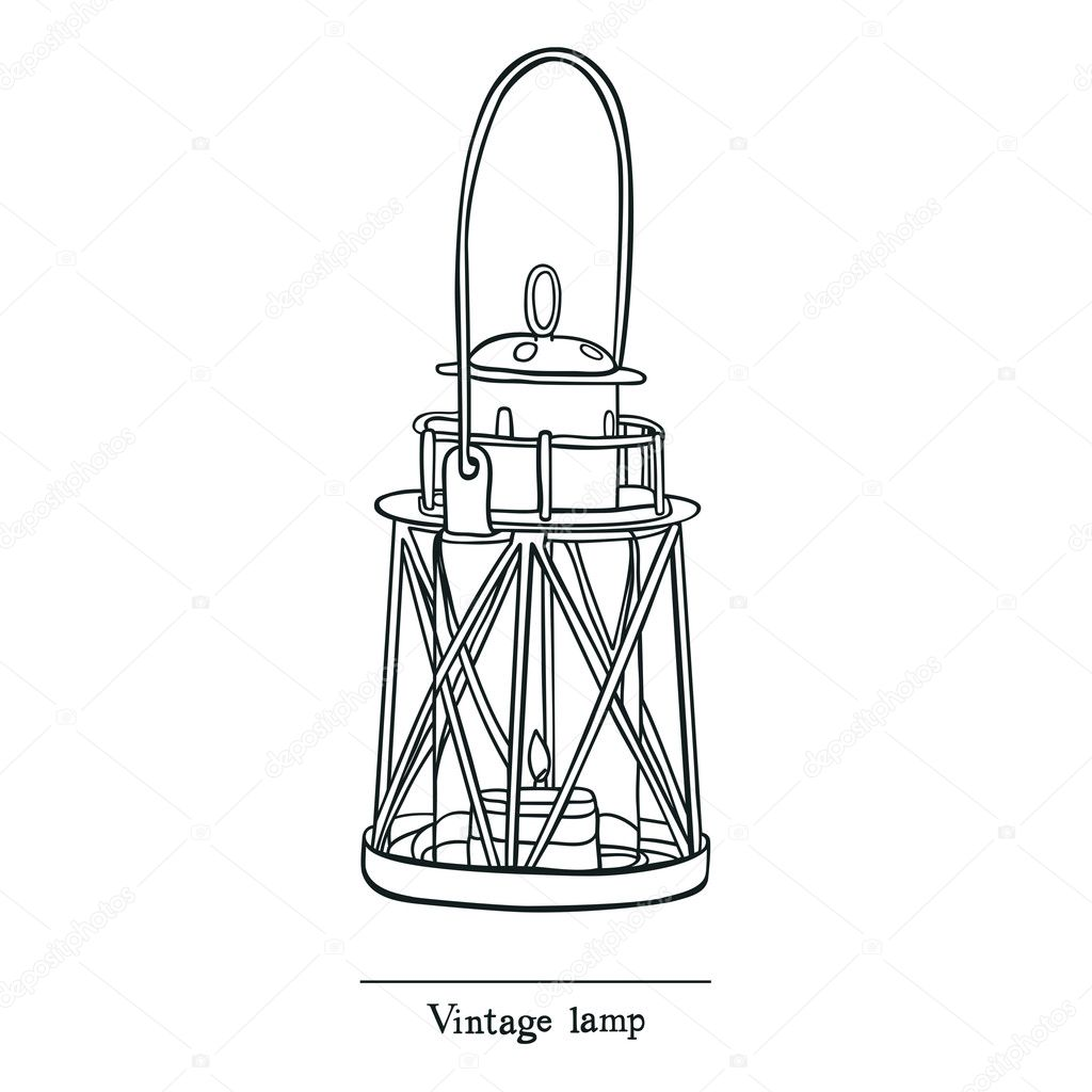 Vintage Candle lamp Line sketch style — Stock Vector © Nenilkime ... for candle lamp drawing  54lyp