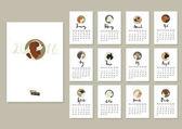 Kalender mit zwölf verschiedenen Hunden mit Kavalierkönig