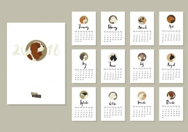 Calendar with twelve different dogs Cover with Cavalier King Cha
