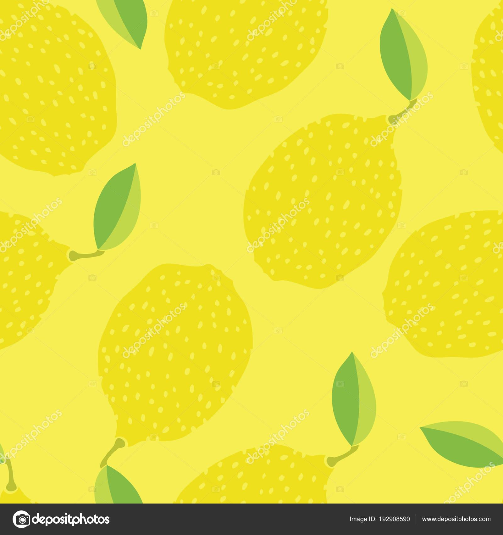 Jidlo Kolekce Funny Citrony Rucni Kreslene Pozadi Zlute Stock