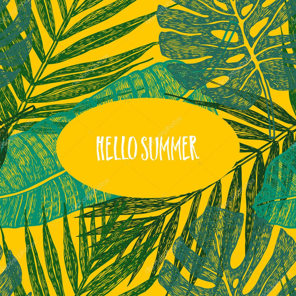 Tropical Palm Leaves On Yellow Background Hello Summer Vector Illustration Set Premium Vector In Adobe Illustrator Ai Ai Format Encapsulated Postscript Eps Eps Format Did you scroll all this way to get facts about tropical leaves background? wdrfree