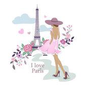 I Love Paris. Image of the Eiffel Tower and women. Vector illustration. Paris and flowers. Paris, France fashion stylish illustration.