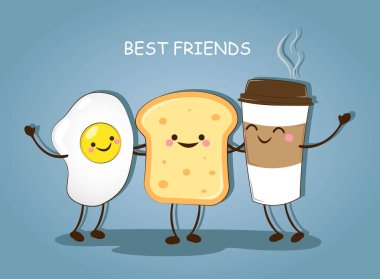 Best friends. Breakfast. Good morning. Cute picture of a coffee, eggs and toast. Vector illustration. clip art vector