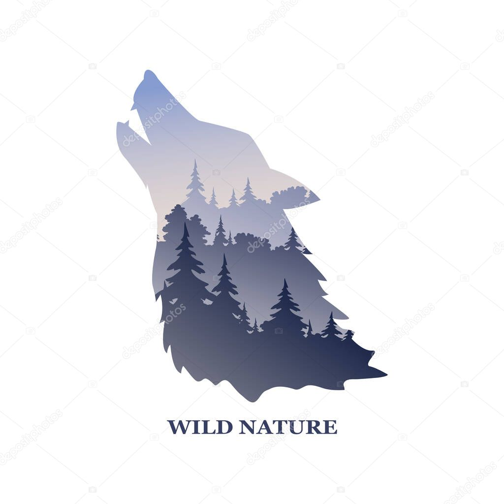Vector logo with the inscription wildlife. Nature landscape with a wild wolf. Vector illustration.