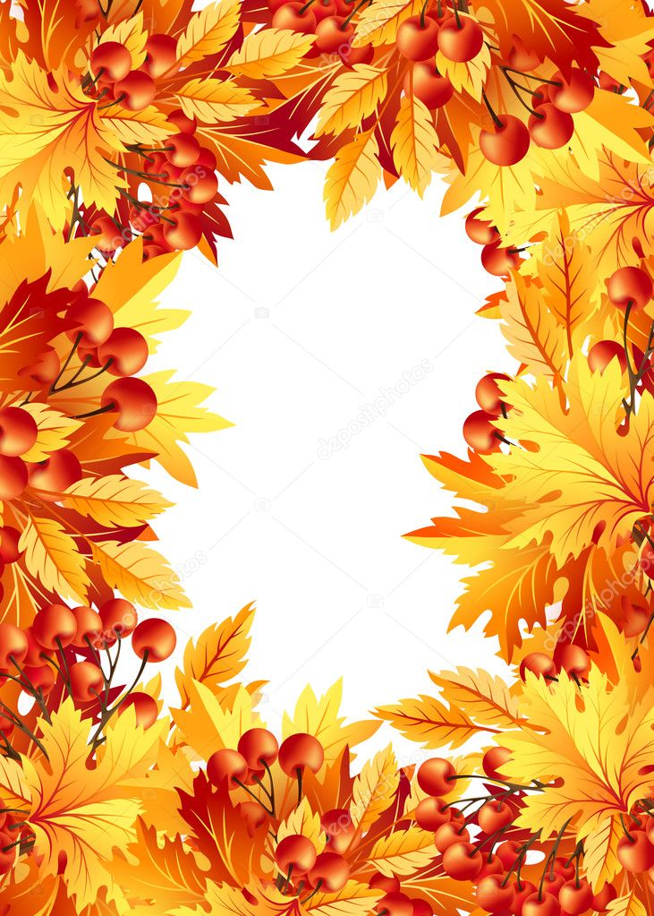 Autumn background with fall maple tree leaves vector de - Descargar autumn leaves ...