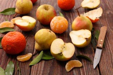 fresh fruit on wood
