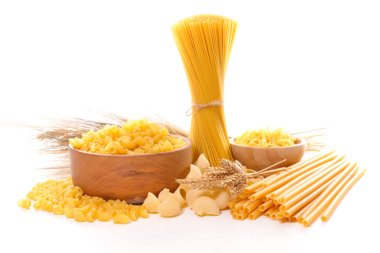 assortment raw pasta