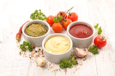 assorted various of sauce dip