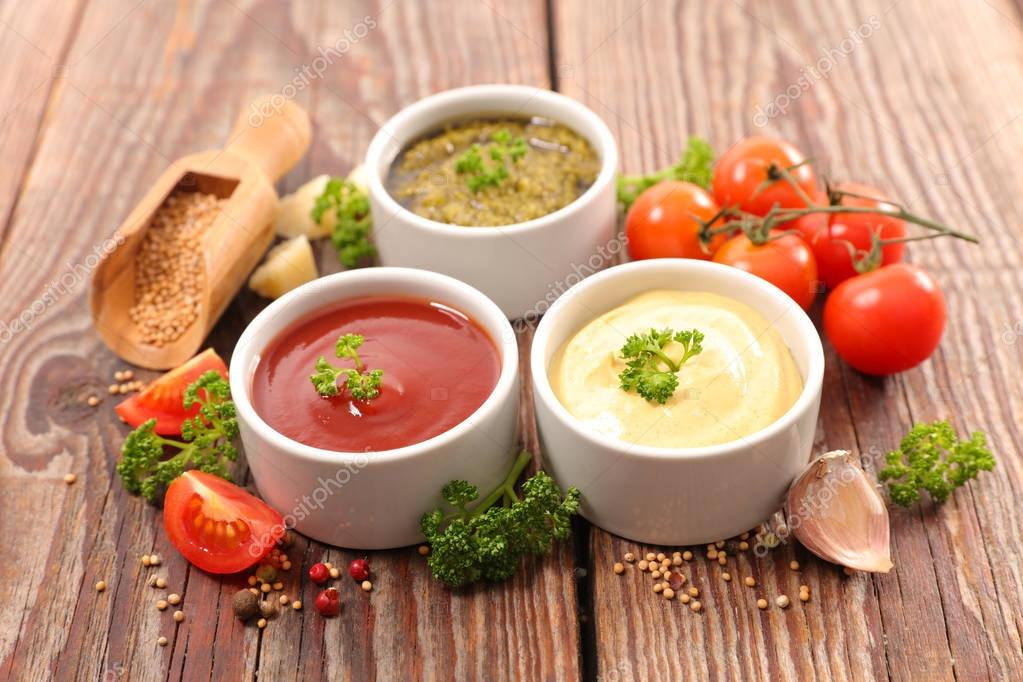 Ketchup, pesto and mustard