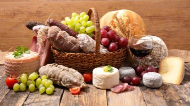 cheese, meats and wine