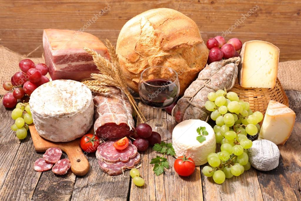 cheese, meat and bread
